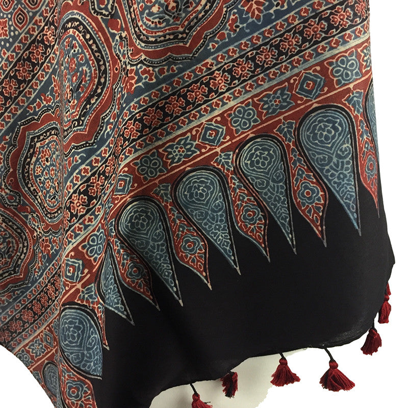 Block Print Scarf in Traditional Ajrakh Design - red & blue - Pallu Design