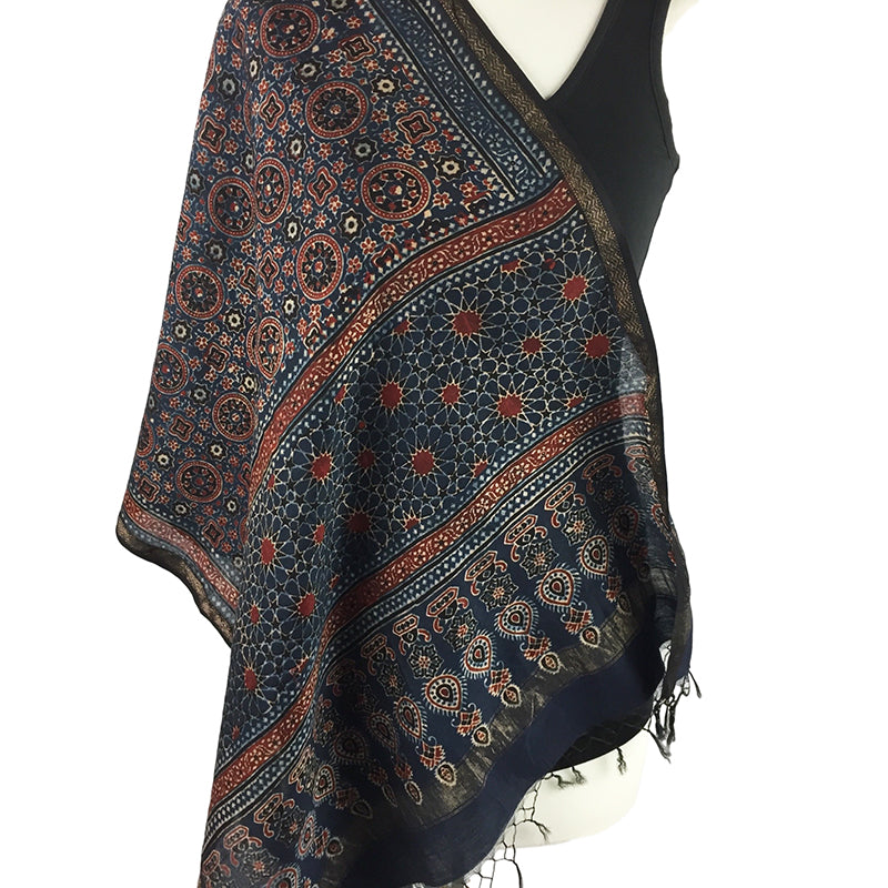Block Printed Ajrakh Scarf, Geometric Designs in Red and Blue - Pallu Design