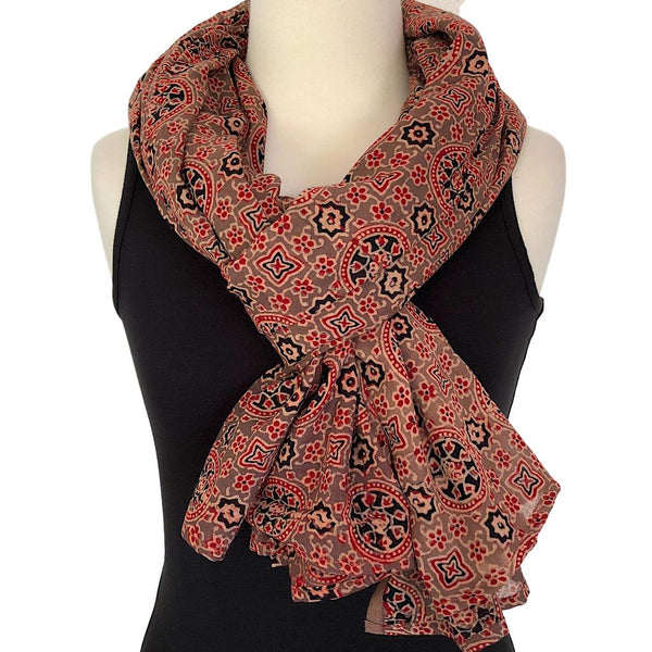 Indian scarf in Ajrakh Design - Pallu Design