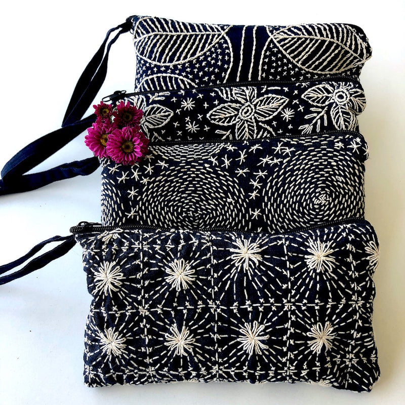 Embroidered Indigo Clutch Bag - Hmong star wristlet - Pallu Design