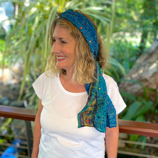 Aqua silk scarf with delicate embroidery