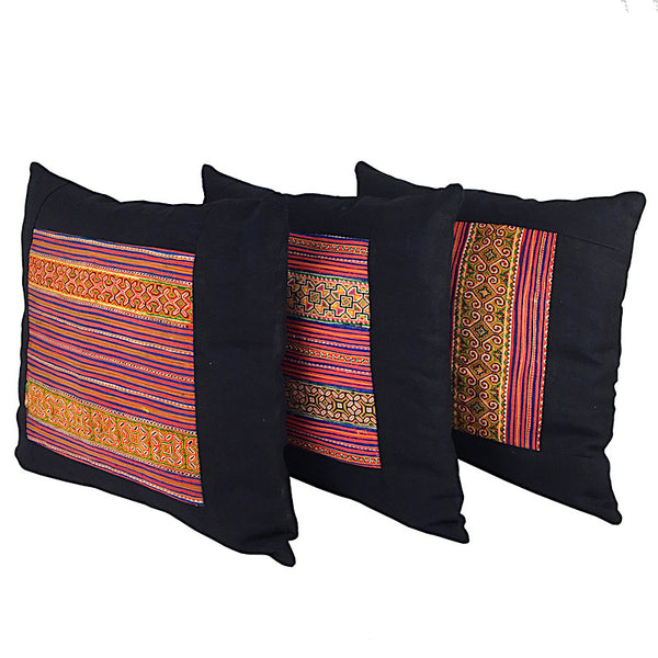 Vintage Bright Hmong Embroidered Cushion - Square - Pallu Design