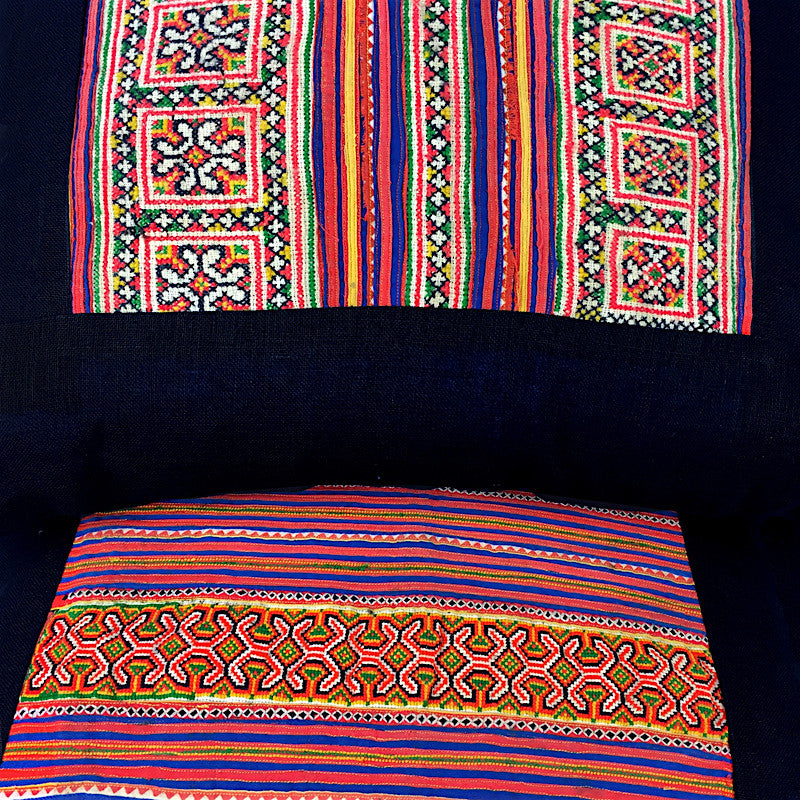 Vintage Bright Embroidered Square Cushion - Pallu Design