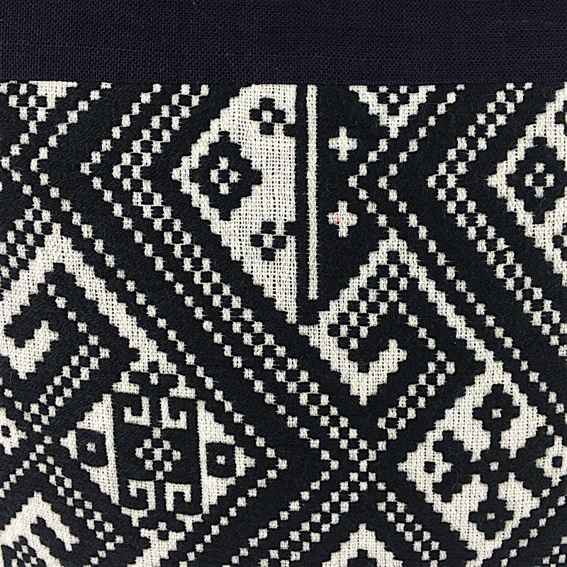 Hand Woven Square Cushion - Black and White - Pallu Design