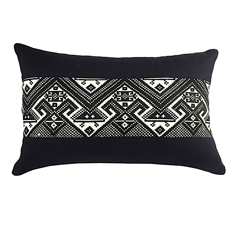 Hand Woven Black & White Oblong Cushion - Pallu Design