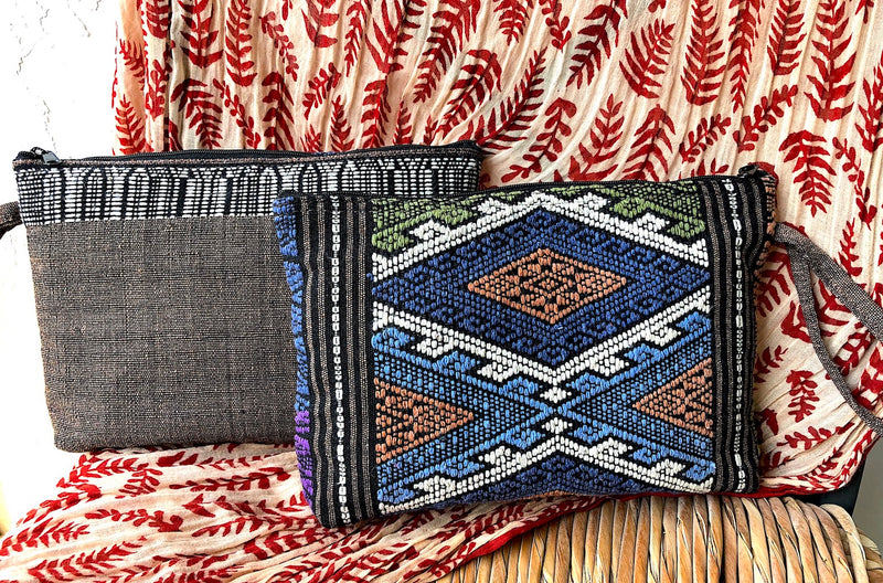 Hand Woven Clutch Bag - Zip Pouch in Thai Fabric - Pallu Design