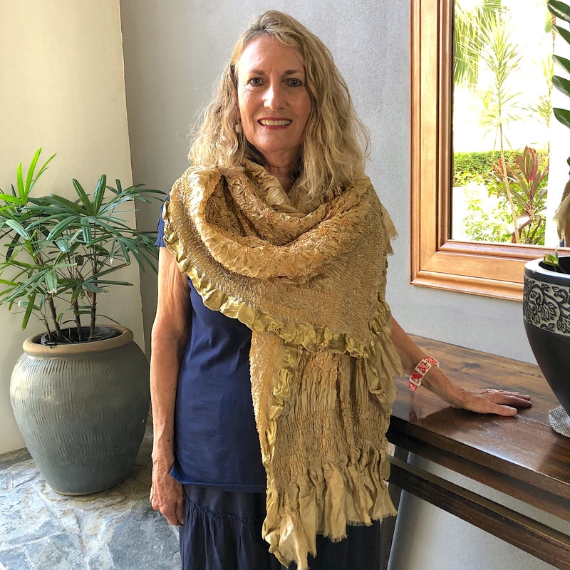 Oversize Gold Silk Bandhani Scarf with gold thread