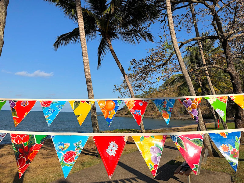 Decor Bunting - Mexican Oilcloth Outdoor Flags - 12 Flags - Pallu Design