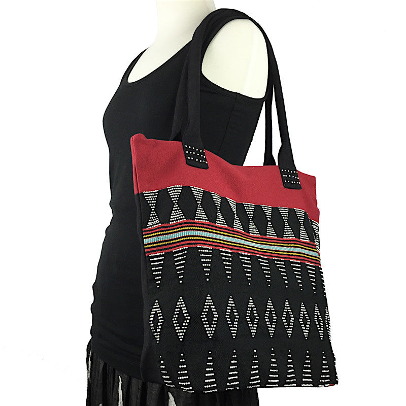 Beaded Bag - Handwoven in Black and Red - Pallu Design