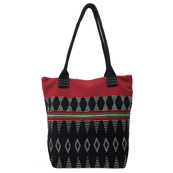 Tote Bag - Beaded and Handwoven - Black and Red - Pallu Design