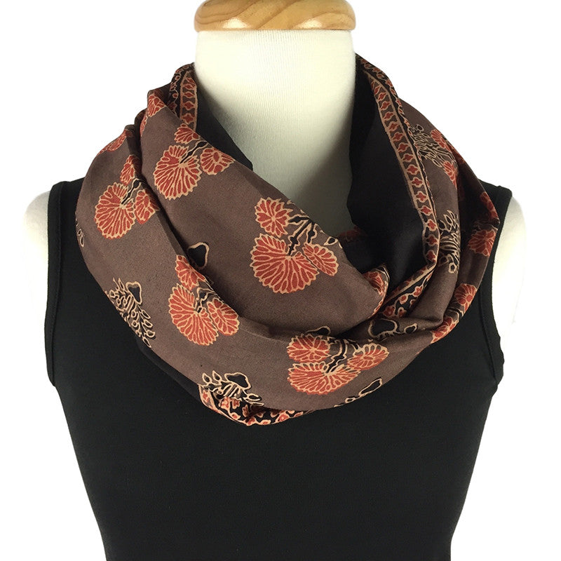 Ajrakh scarf block printed in mocha and coral - Pallu Design