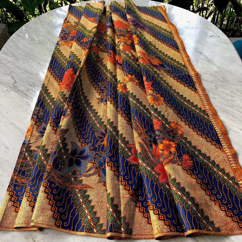 Batik Style Cotton Sarong - Blue and Cream