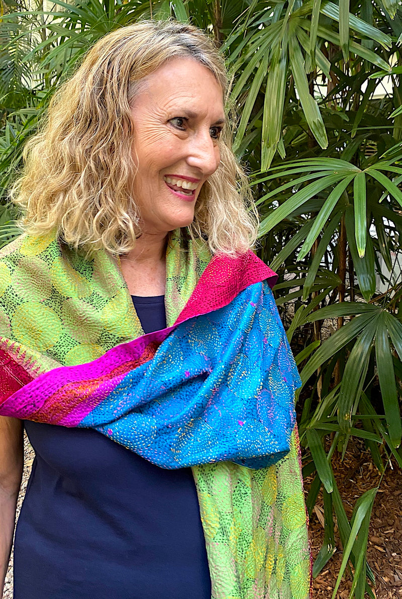 Silk Scarf or Wrap - Hand Stitched Kantha Style
