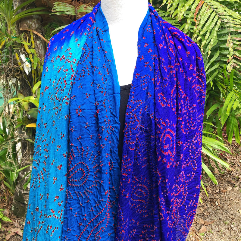 Silk crepe bandhani scarf in cobalt, aqua and red - Pallu Design