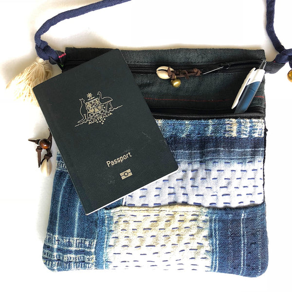 Passport wallet - Hemp crossbody bag - Pallu Design