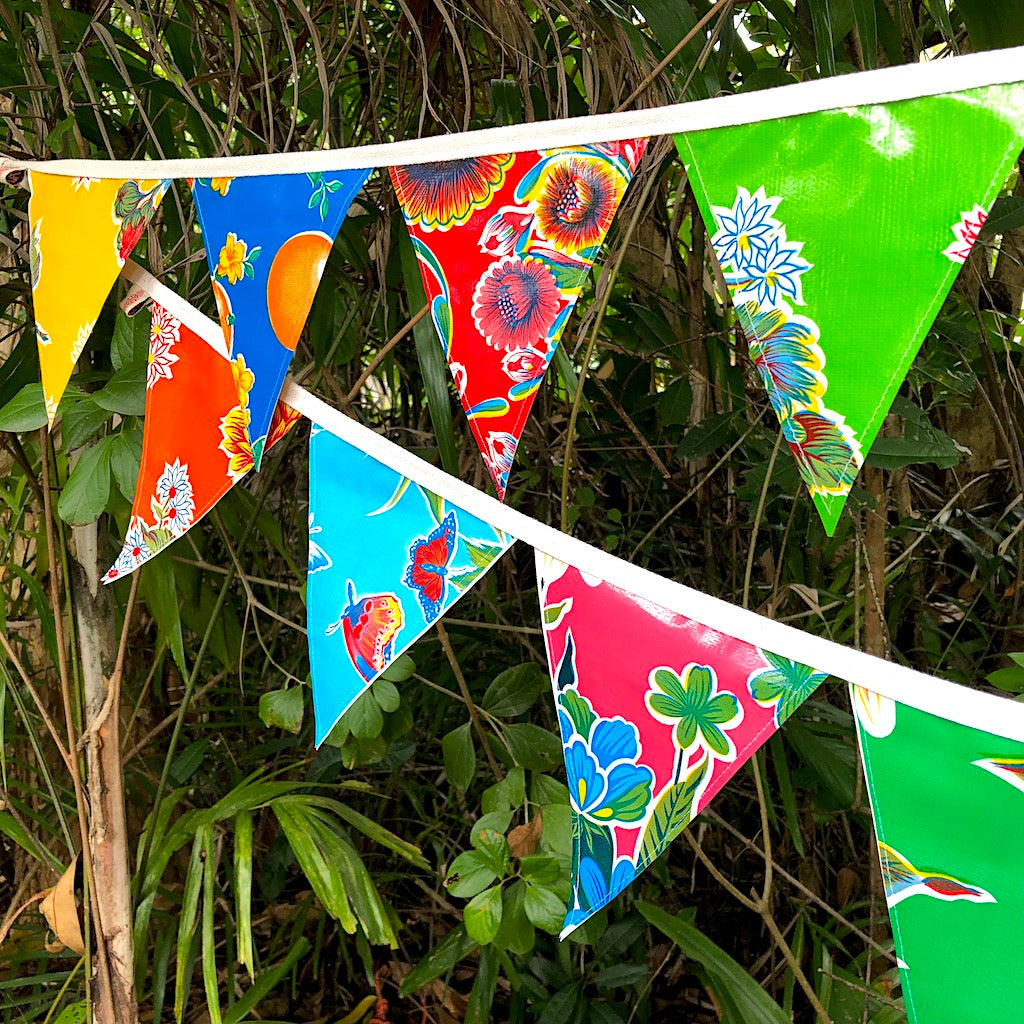 3 mt. Bunting - Mexican Oilcloth Outdoor Flags - Pallu Design