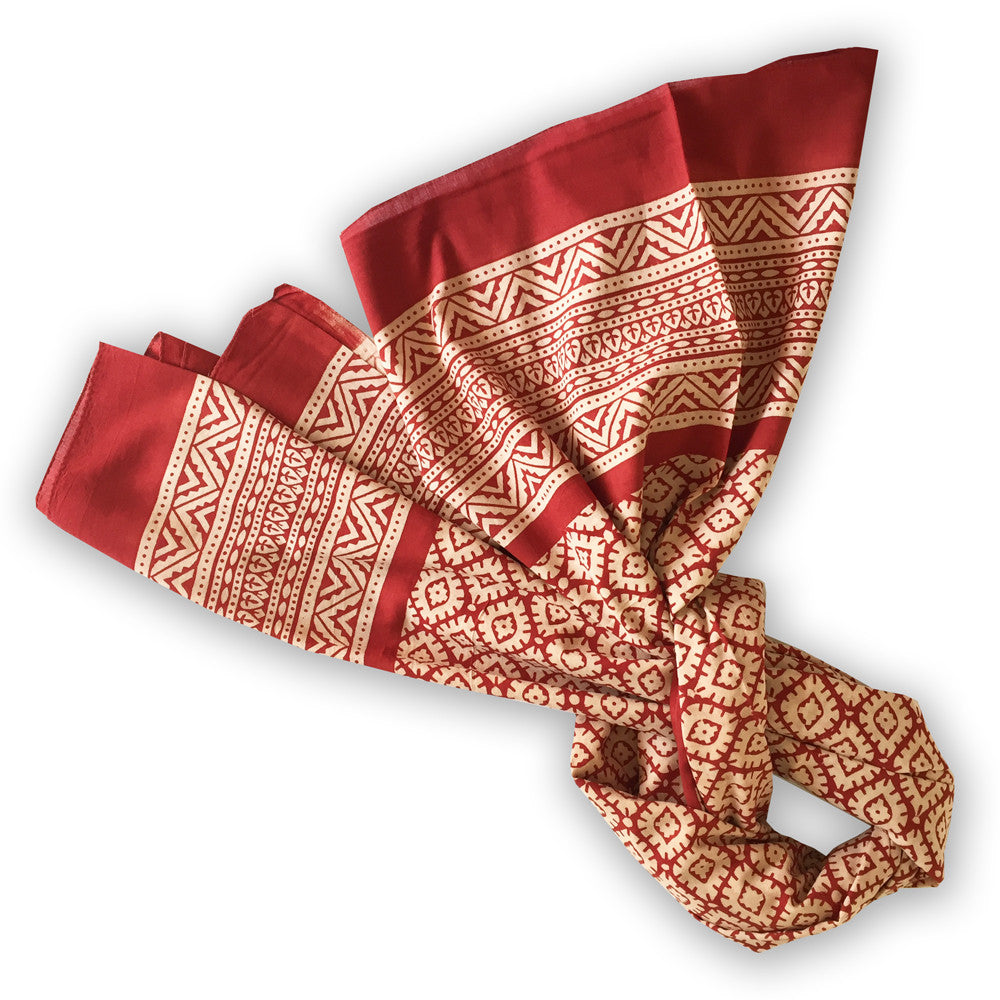 Block Print Cotton Scarf - diamond design - Pallu Design