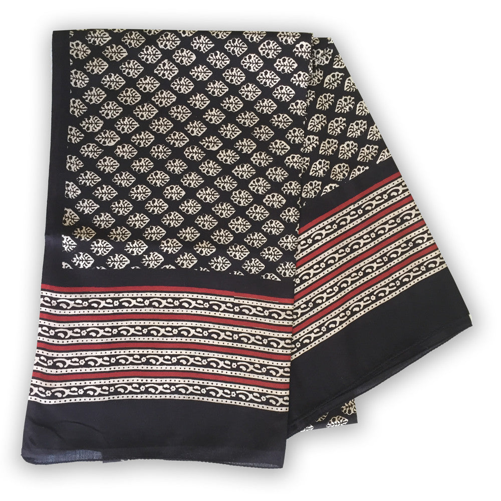 Indian Cotton Block print scarf - flower motif with red borders - Pallu Design