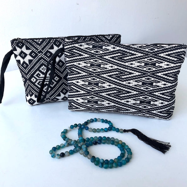 Large Black and White Clutch Bag - Handwoven  Chevron Zip pouch - Pallu Design