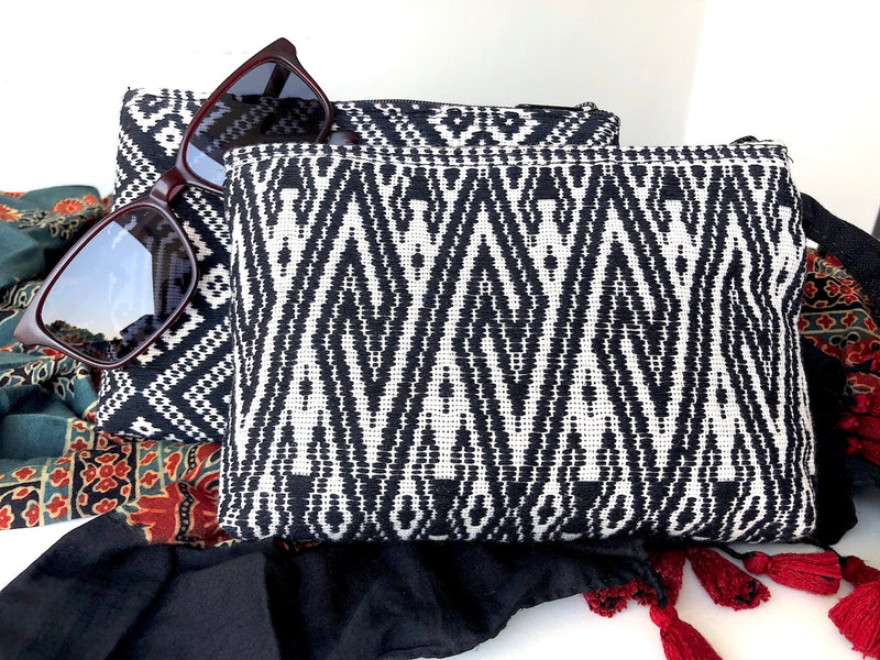 Hand Woven zip pouch - Black and White Laos Cotton - Small - Pallu Design