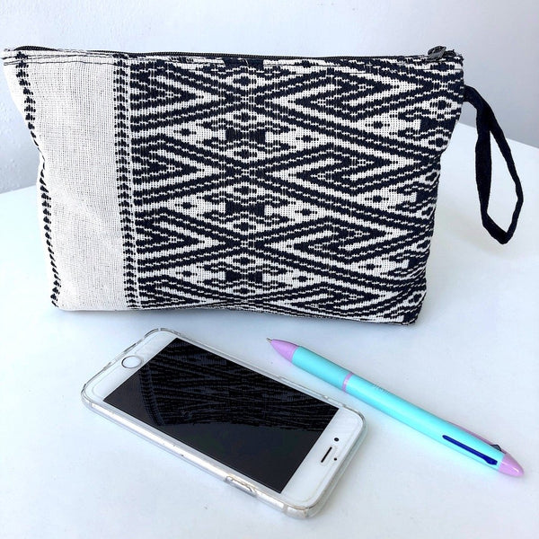 Black and White Clutch Bag - Handwoven Zip pouch in Chevron design - Pallu Design