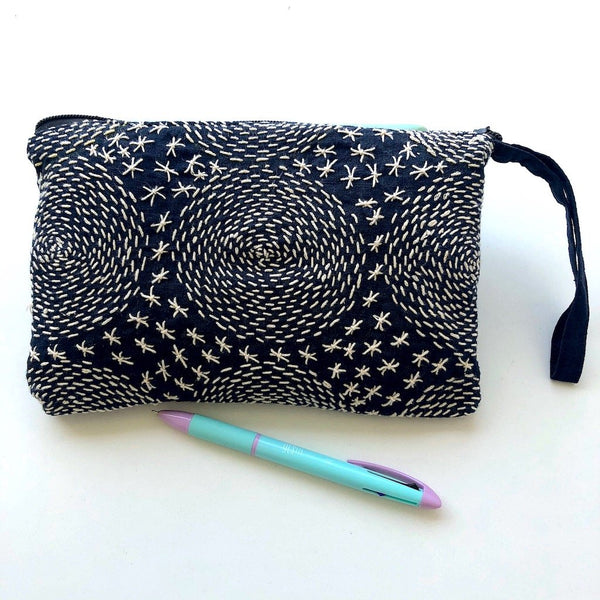 Hmong Wristlet - Embroidered Indigo Clutch Bag: Circles - Pallu Design