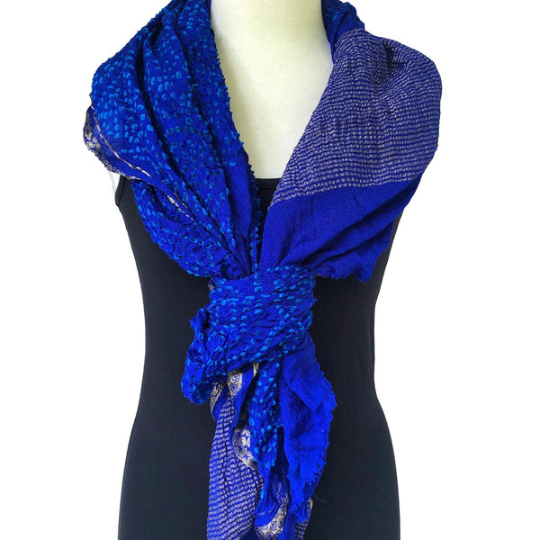 Silk sari crepe scarf in cobalt and peacock bandhani - Pallu Design