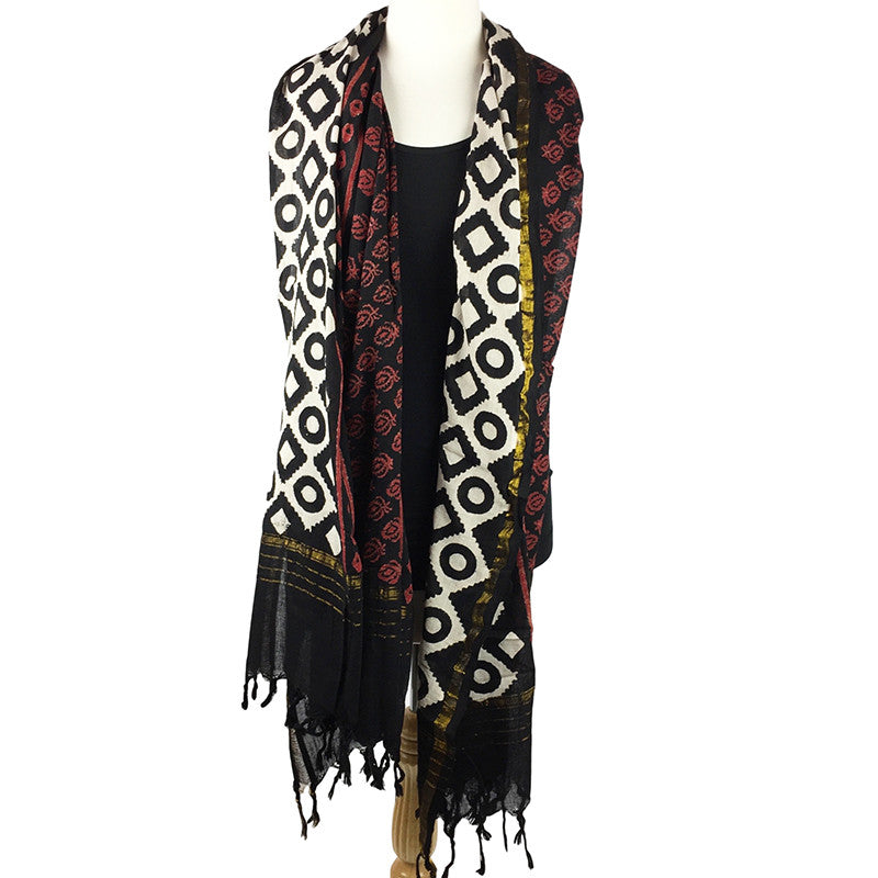 Oversize Scarf with Fringe - Cotton Blockprint - Pallu Design
