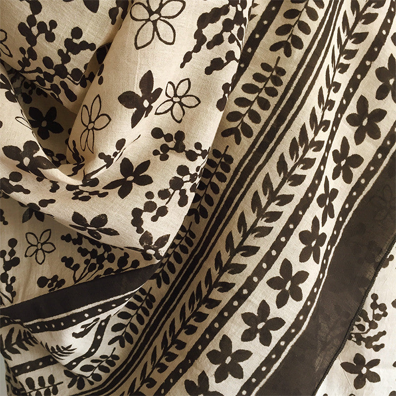 Original block printed scarf - handmade tropical design - Pallu Design
