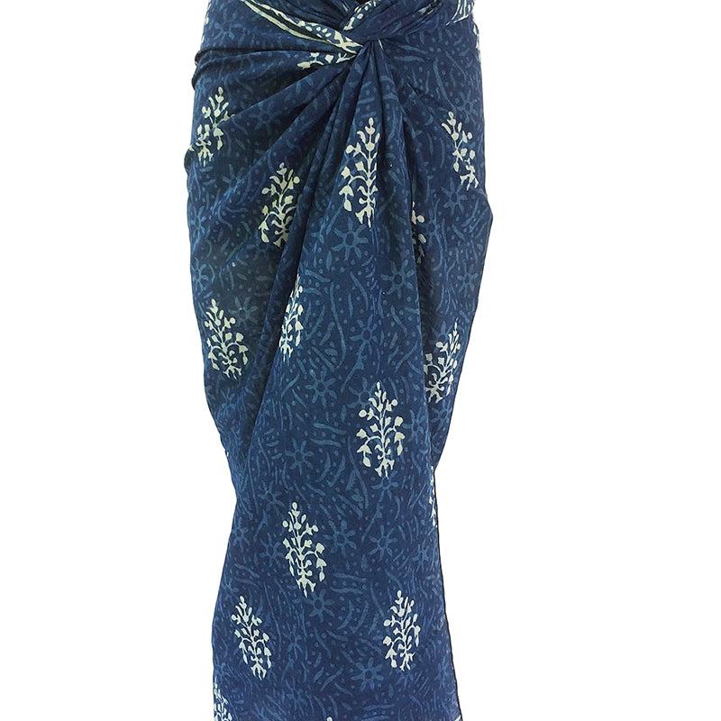 Indigo Cotton Voile Scarf- Block Print in Traditional Design - Pallu Design