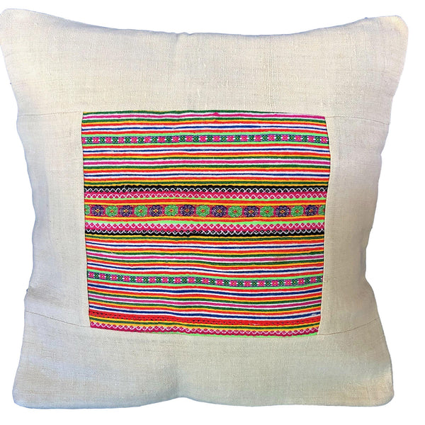 Natural Hemp Cushion with Hmong Braid Panel - Pallu Design