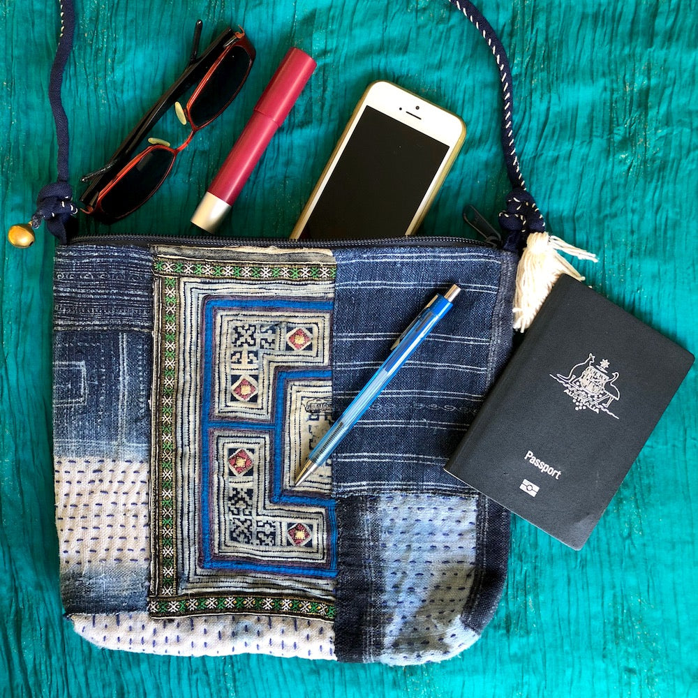 Boro stitched indigo hemp shoulder bag - Pallu Design