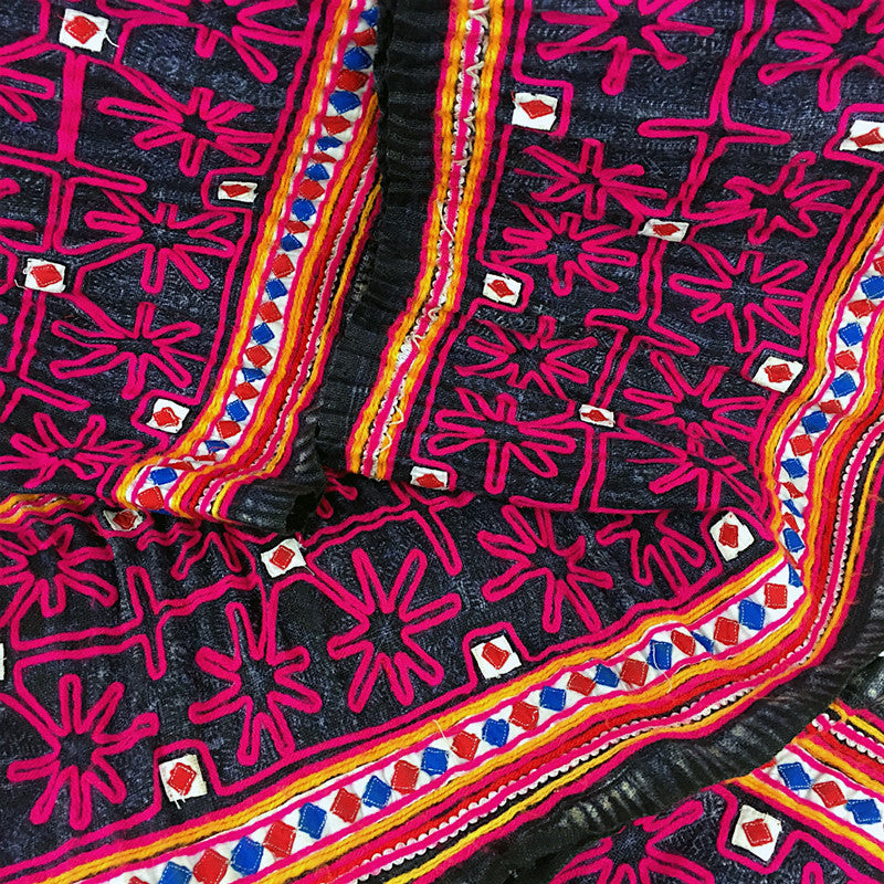 Hmong Indigo Batik Hemp Fabric with Pink Braid - Pallu Design