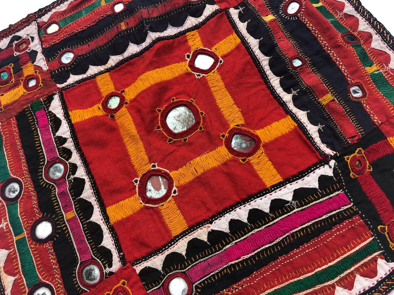 Vintage Kutch Embroidered Mirror Fabric - Pallu Design