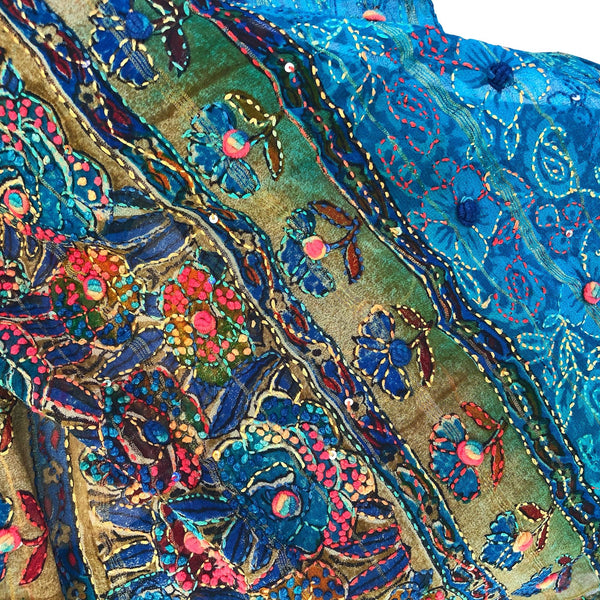 Aqua silk scarf with delicate embroidery - Pallu Design