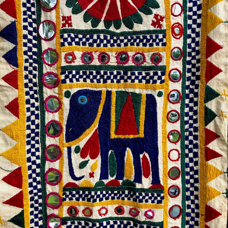 Rabari Embroidery with Elephant Design and Mirrors