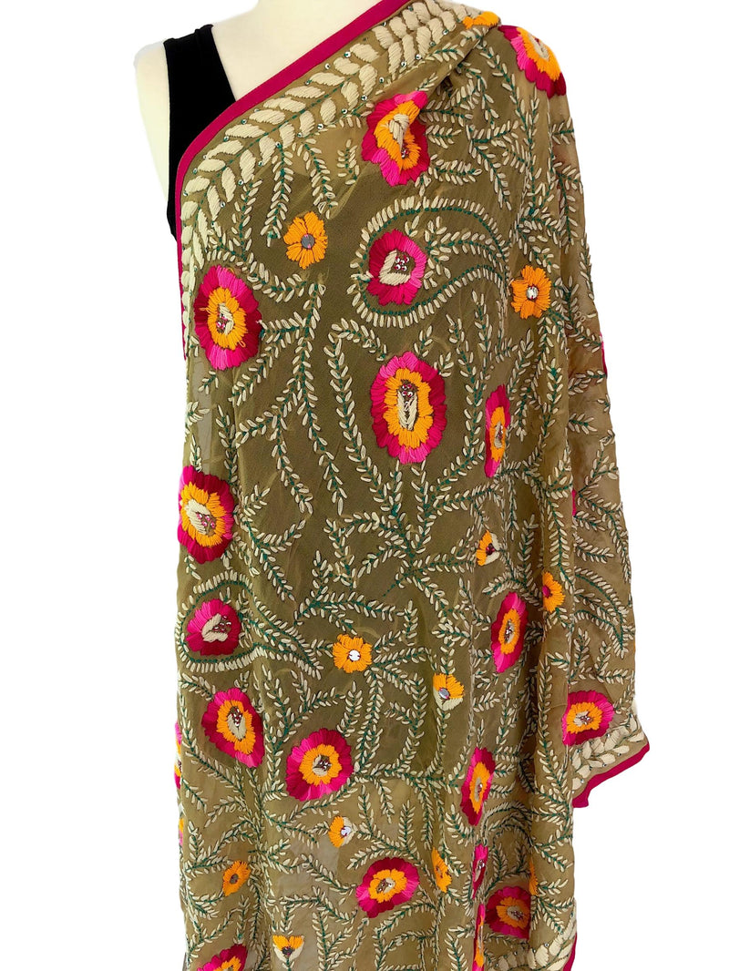 Hand Embroidered Georgette Shawl with Sequins - Pallu Design