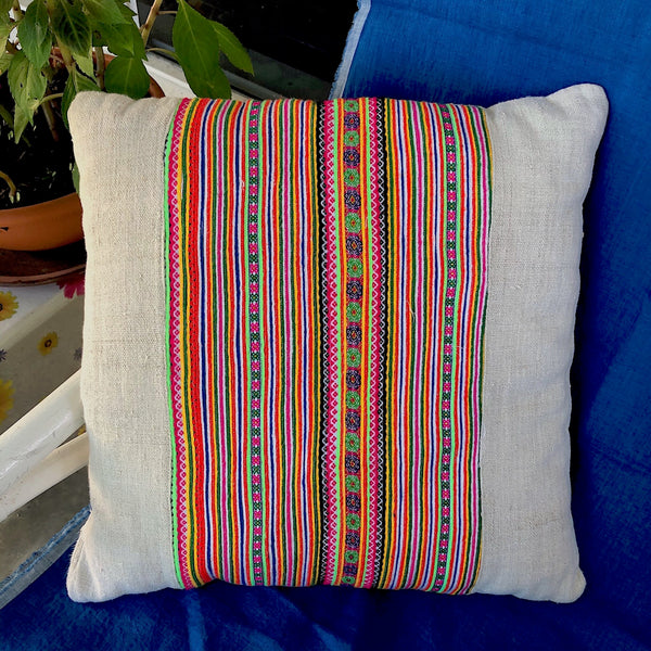 Hmong Fabric Hemp Cushion with Braid Panel - Pallu Design
