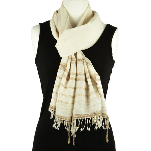 Silk and Cotton Hand Woven Scarf - Pallu Design