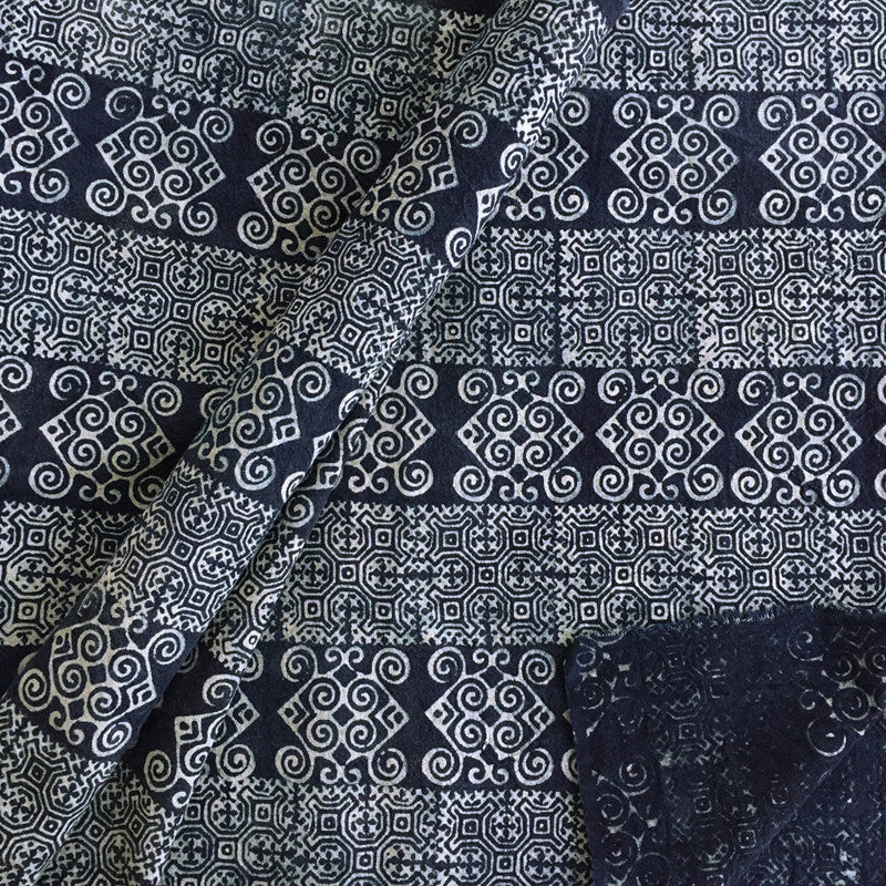 Hmong Indigo Batik Cotton with Fish Motif - Pallu Design
