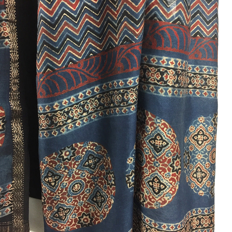 Block Printed Ajrakh Scarf with ZigZag Motifs - Pallu Design