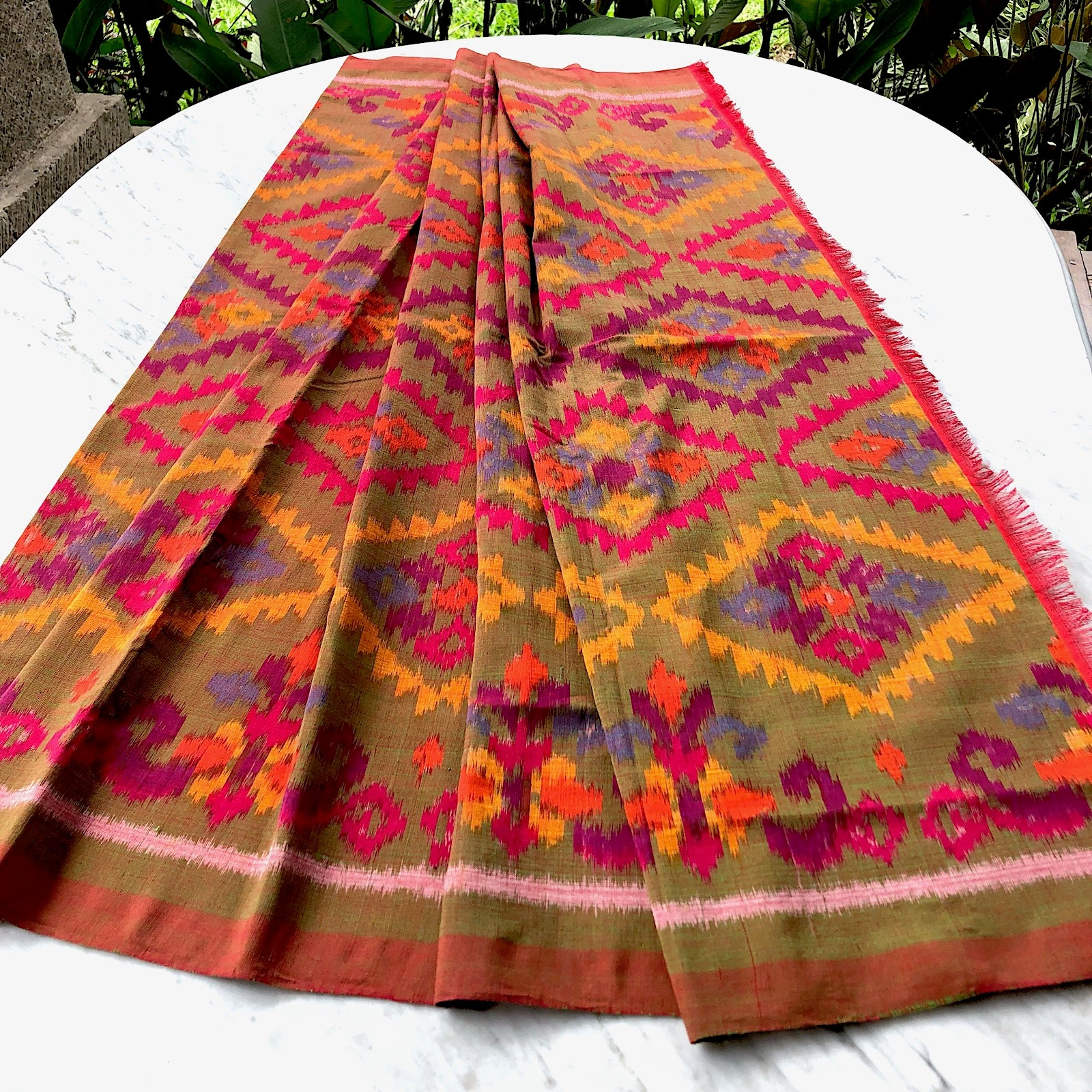 Red & olive ikat sarong and decor fabric - Pallu Design