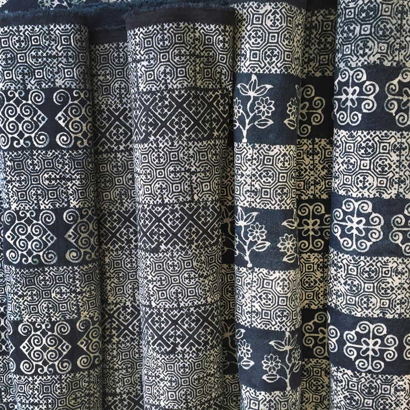 Hmong Indigo Batik Cotton with Flower Motif - Pallu Design
