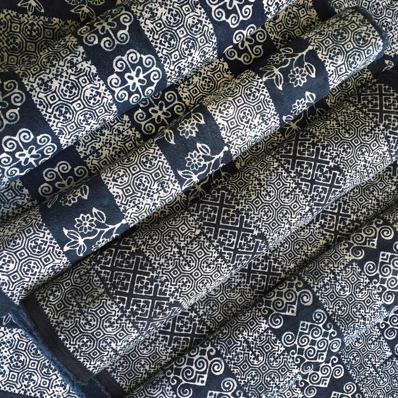 Hmong Fabric Batik Cotton with Fish Motif - Pallu Design
