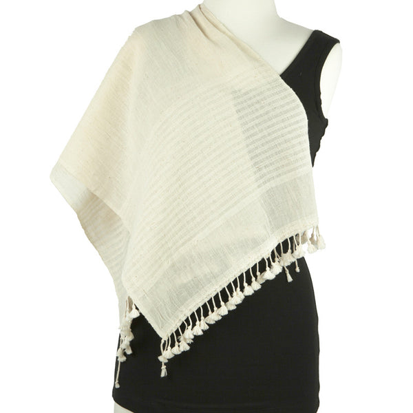 Organic Cotton Hand Woven Scarf with Tassels - Pallu Design