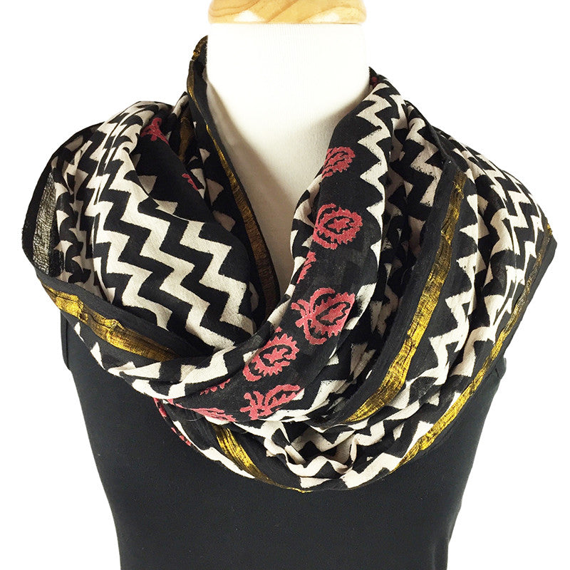 Fringed scarf - block print scarf with gold - Pallu Design