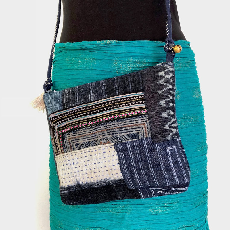 Indigo Boro-Stitched Hemp crossbody bag - Pallu Design
