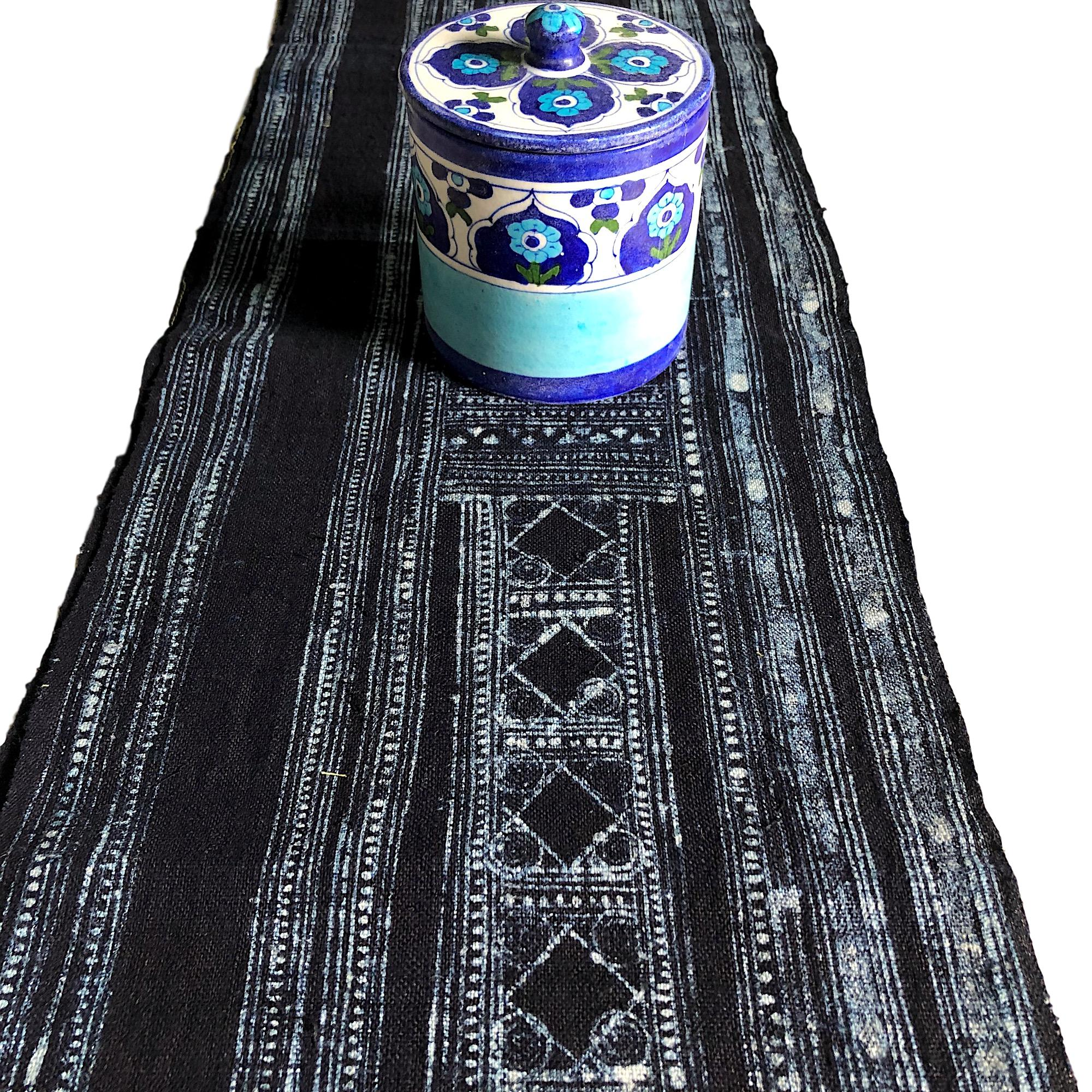 Indigo hemp fabric length 196 x 28cm - Pallu Design