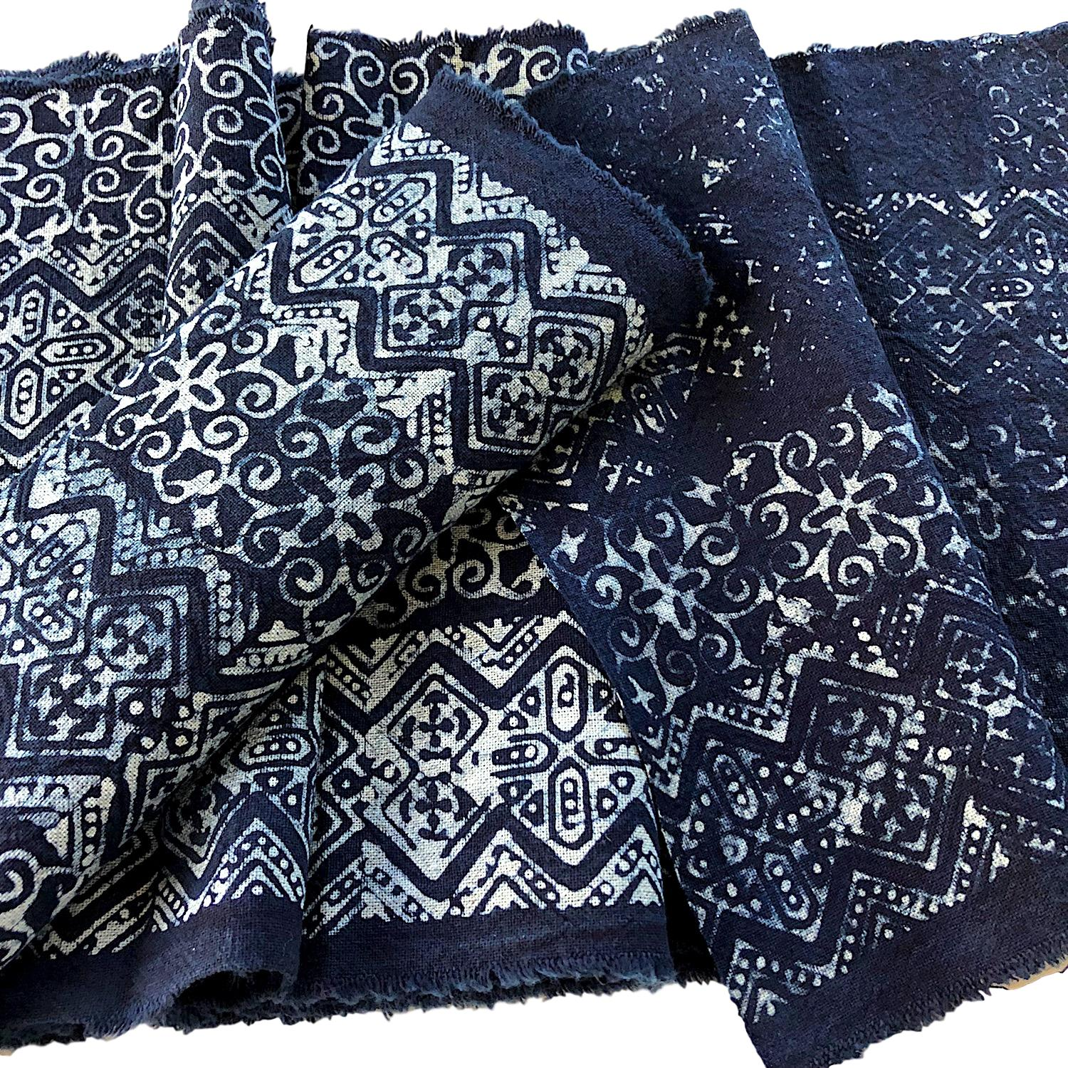 Hmong indigo decor fabric or table runner 2.5mt - Pallu Design