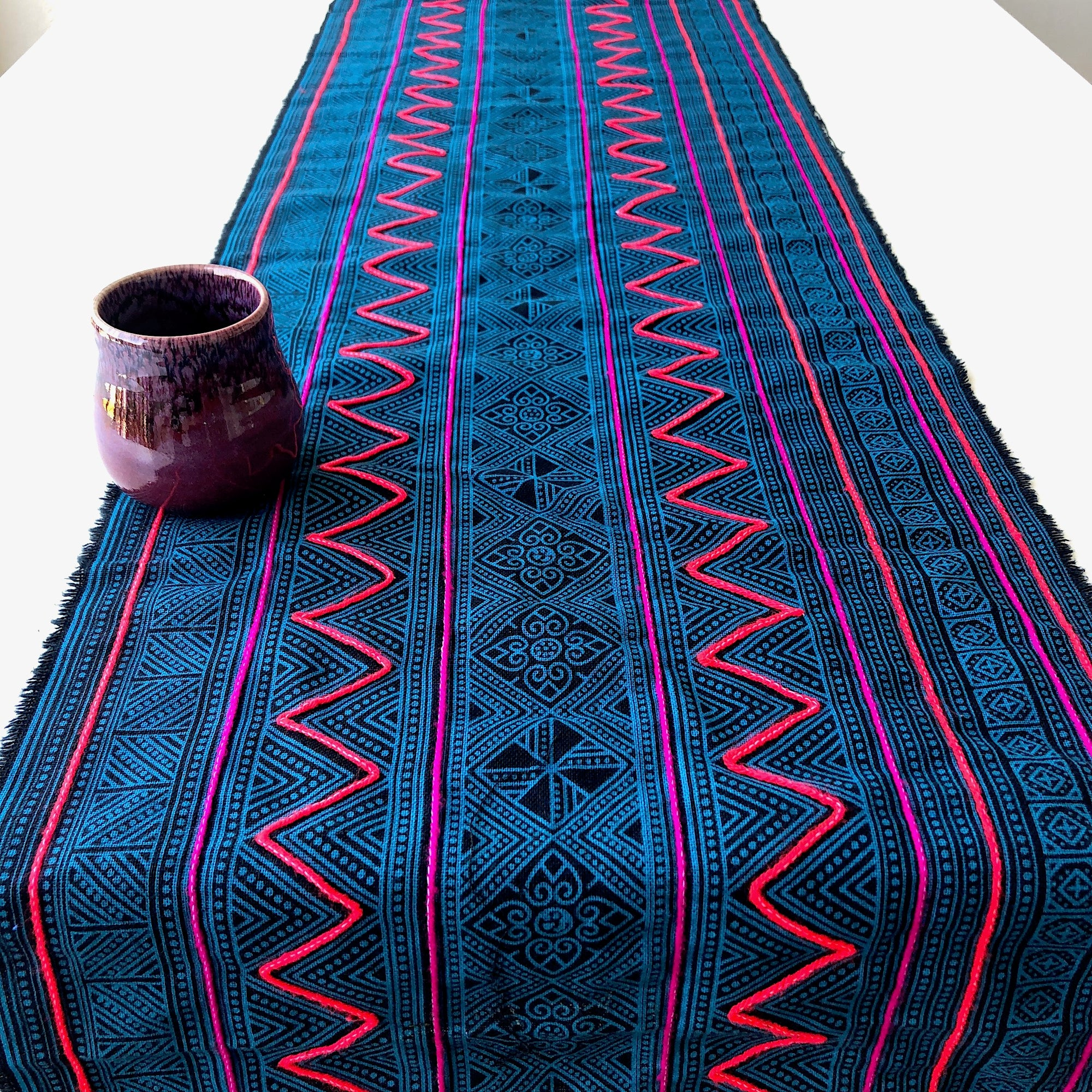Hmong Decor Fabric Table Runner in Teal - 2.58 metres - Pallu Design